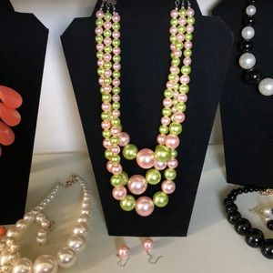 Pink & Green Faux Pearls Set